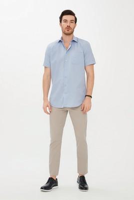 Erkek Giyim - AÇIK MAVİ XXL Beden Kısa Kol Desenli Klasik Gömlek