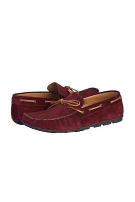 Erkek Giyim - AÇIK BORDO 43 Beden Süet Bağcıklı Loafer Ayakkabı