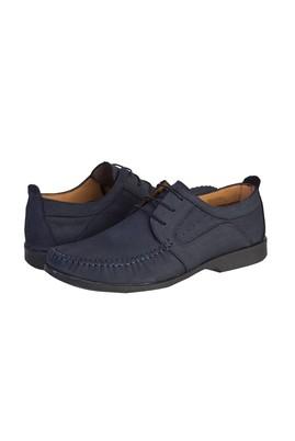 Erkek Giyim - KOYU LACİVERT 41 Beden Casual Bağcıklı Nubuk Ayakkabı