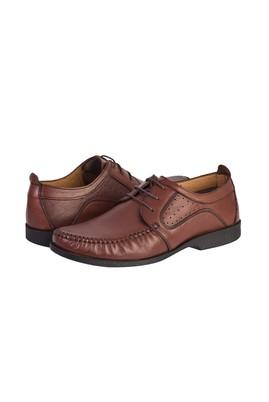 Erkek Giyim - ORTA KAHVE 42 Beden Casual Bağcıklı Deri Ayakkabı