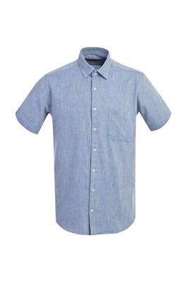 Erkek Giyim - KOYU MAVİ 3X Beden Kısa Kol Desenli Klasik Gömlek