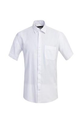 Erkek Giyim - BEYAZ 3X Beden Kısa Kol Regular Fit Desenli Gömlek