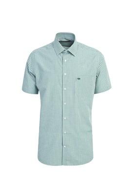 Erkek Giyim - ÇİMEN YEŞİLİ L Beden Kısa Kol Regular Fit Ekose Gömlek