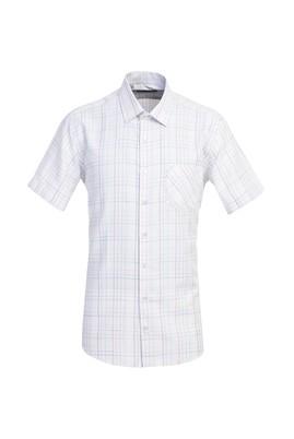 Erkek Giyim - BEYAZ XL Beden Kısa Kol Ekose Klasik Gömlek