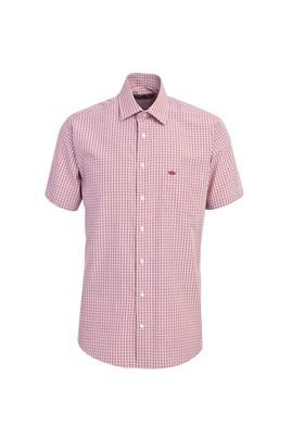 Erkek Giyim - BAYRAK KIRMIZI L Beden Kısa Kol Ekose Klasik Gömlek