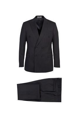 Erkek Giyim - SİYAH 52 Beden Kruvaze Yünlü Çizgili Takım Elbise