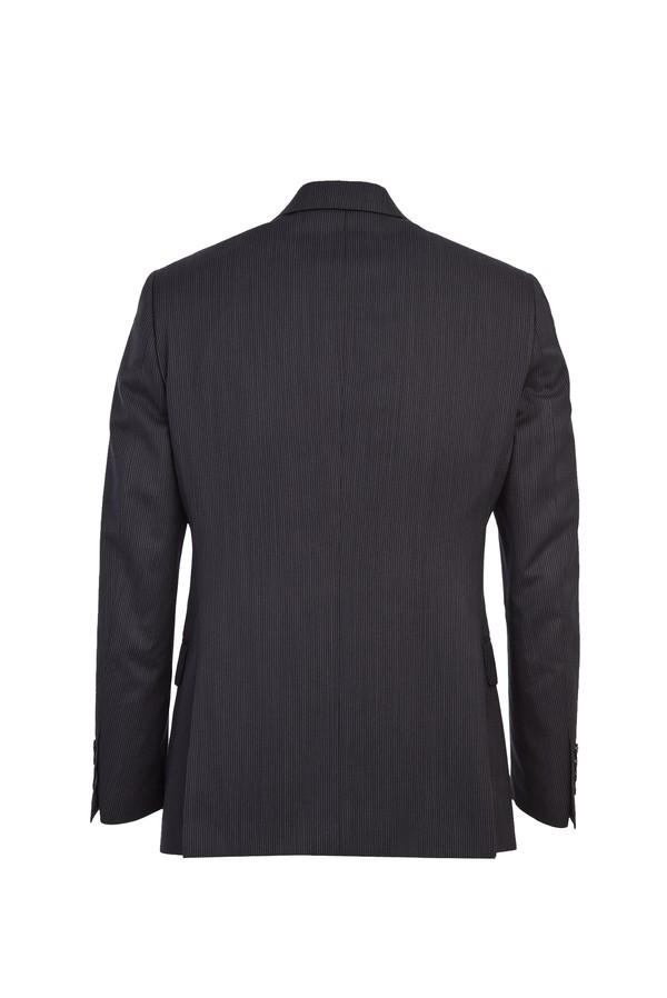 Kruvaze Yünlü Çizgili Takım Elbise