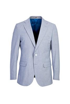 Erkek Giyim - AÇIK MAVİ 50 Beden Klasik Desenli Ceket
