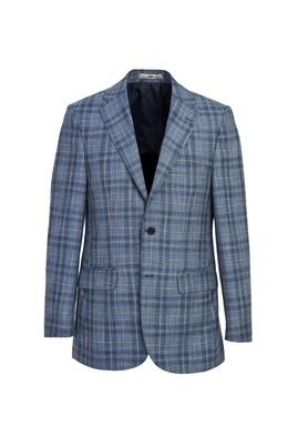 Erkek Giyim - KOYU MAVİ 48 Beden Klasik Ekose Ceket