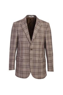 Erkek Giyim - ORTA KAHVE 48 Beden Klasik Ekose Ceket