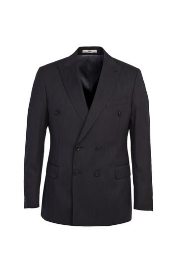 Erkek Giyim - Kruvaze Yünlü Çizgili Takım Elbise