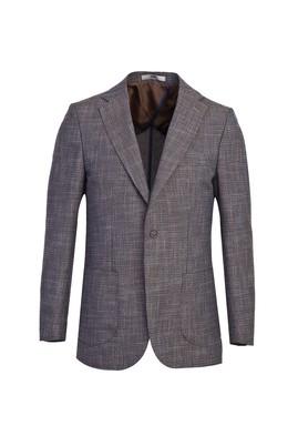 Erkek Giyim - ORTA KAHVE 48 Beden Klasik Desenli Ceket