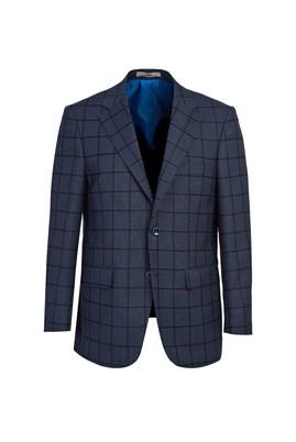 Erkek Giyim - AÇIK MAVİ 48 Beden Klasik Ekose Ceket