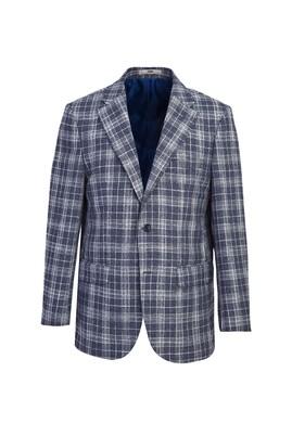 Erkek Giyim - KOYU LACİVERT 48 Beden Klasik Ekose Ceket
