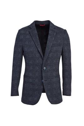 Erkek Giyim - ORTA LACİVERT 46 Beden Klasik Ekose Ceket