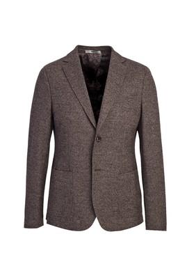 Erkek Giyim - ORTA KAHVE 46 Beden Klasik Yünlü Desenli Ceket