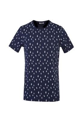 Erkek Giyim - KOYU LACİVERT L Beden Bisiklet Yaka Slim Fit Baskılı Tişört