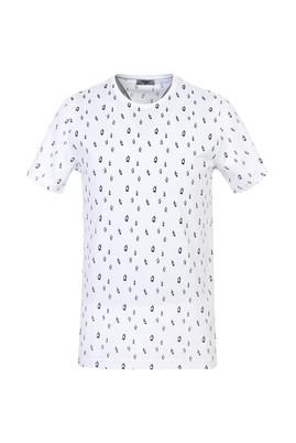 Erkek Giyim - BEYAZ S Beden Bisiklet Yaka Slim Fit Baskılı Tişört