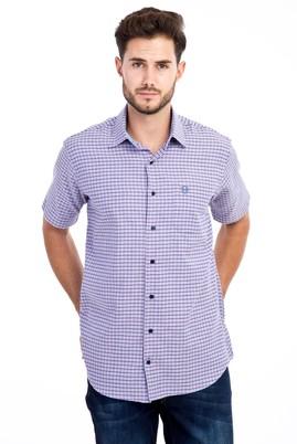 Erkek Giyim - KOYU MAVİ M Beden Kısa Kol Regular Fit Ekose Gömlek