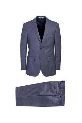 Erkek Giyim - Petrol 52 Beden Klasik Kareli Takım Elbise
