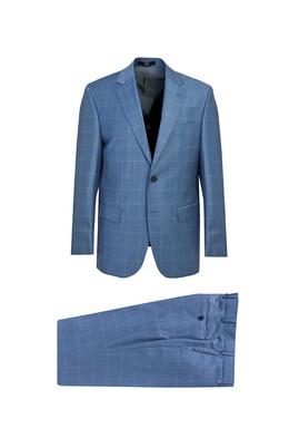 Erkek Giyim - Turkuaz 64 Beden Klasik Ekose Takım Elbise
