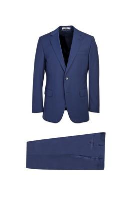 Erkek Giyim - KOYU MAVİ 52 Beden Klasik Yünlü Takım Elbise
