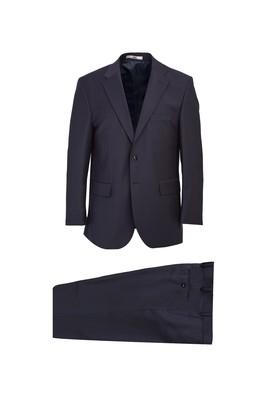 Erkek Giyim - LACİVERT 50 Beden Yünlü Klasik Takım Elbise