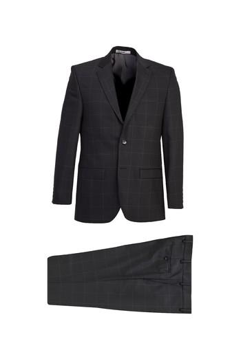 Erkek Giyim - Regular Fit Yünlü Kareli Takım Elbise