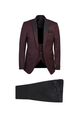 Erkek Giyim - BORDO 48 Beden Yelekli Smokin / Damatlık