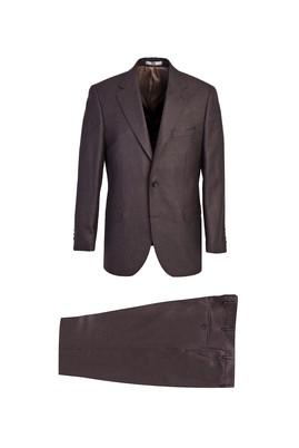 Erkek Giyim - KOYU KAHVE 52 Beden Klasik Desenli Takım Elbise