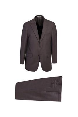 Erkek Giyim - KOYU KAHVELOT1 54 Beden Kuşgözü Yünlü Takım Elbise