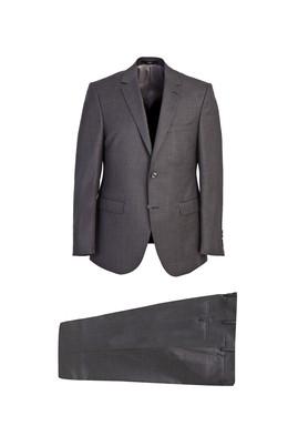 Erkek Giyim - AÇIK ANTRASİT 50 Beden Slim Fit Yünlü Desenli Takım Elbise