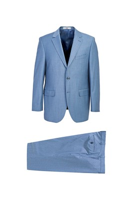 Erkek Giyim - AQUA MAVİSİ 48 Beden Yünlü Kareli Takım Elbise