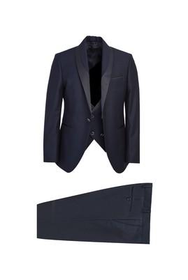 Erkek Giyim - SİYAH LACİVERT 48 Beden Slim Fit Şal Yaka Smokin / Damatlık