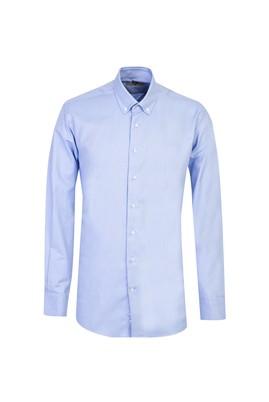 Erkek Giyim - MAVİ XL Beden Uzun Kol Regular Fit Oxford Gömlek
