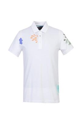 Erkek Giyim - BEYAZ L Beden Polo Yaka Slim Fit Baskılı Tişört