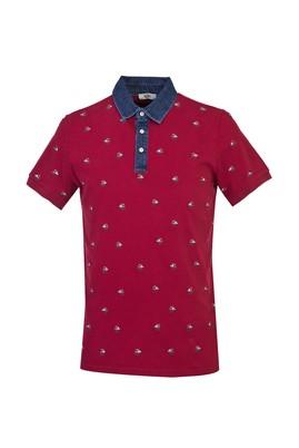 Erkek Giyim - KOYU BORDO L Beden Polo Yaka Baskılı Slim Fit Tişört