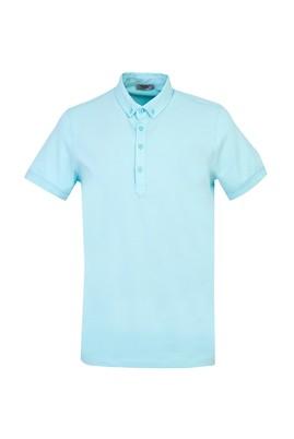 Erkek Giyim - SU MAVİSİ L Beden Yarım İtalyan Yaka Regular Fit Süprem Tişört