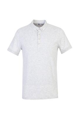 Erkek Giyim - AÇIK GRİ MELANJ M Beden Yarım İtalyan Yaka Regular Fit Süprem Tişört