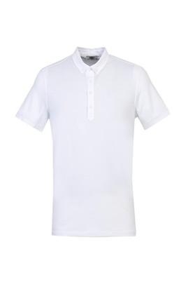 Erkek Giyim - BEYAZ 3X Beden Yarım İtalyan Yaka Regular Fit Süprem Tişört