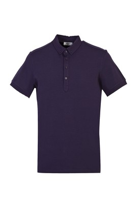 Erkek Giyim - KOYU MOR S Beden Yarım İtalyan Yaka Regular Fit Süprem Tişört