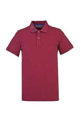 Erkek Giyim - KOYU BORDO L Beden Polo Yaka Slim Fit Tişört