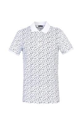 Erkek Giyim - BEYAZ XL Beden Polo Yaka Slim Fit Baskılı Tişört
