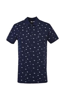 Erkek Giyim - KOYU LACİVERT L Beden Polo Yaka Süper Slim Fit Baskılı Tişört