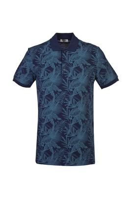 Erkek Giyim - KOYU LACİVERT L Beden Polo Yaka Slim Fit Baskılı Tişört