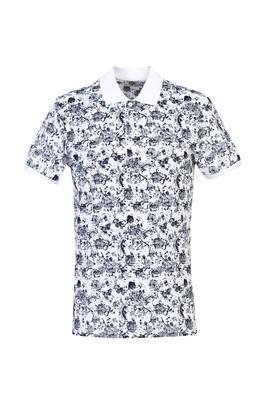Erkek Giyim - BEYAZ S Beden Polo Yaka Slim Fit Baskılı Tişört