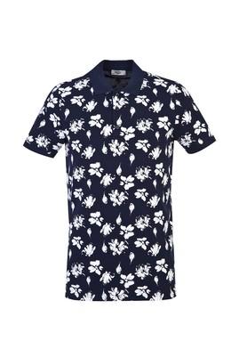 Erkek Giyim - KOYU LACİVERT XL Beden Polo Yaka Slim Fit Baskılı Tişört