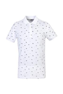 Erkek Giyim - BEYAZ XL Beden Polo Yaka Süper Slim Fit Baskılı Tişört