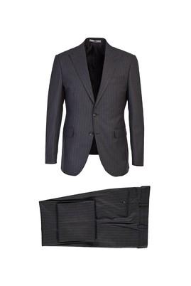 Erkek Giyim - KOYU ANTRASİT 44 Beden Slim Fit Çizgili Takım Elbise