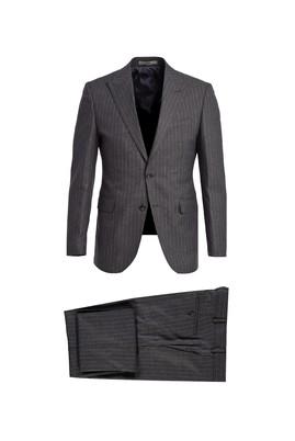 Erkek Giyim - ORTA ANTRASİT 44 Beden Slim Fit Çizgili Takım Elbise